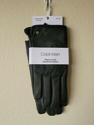 Calvin Klein Men#x27;s Black Fleece Lined Faux Leather Touchscreen Gloves Sz M XL $14.95