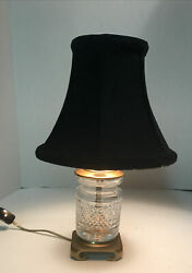 Crystal Mini Lamp With Black Shade Gold Lined Brass Bottom $44.99
