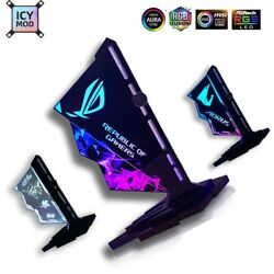 RGB GPU Vertical Acrylic VGA Holder Video Card Support 12V 4Pin 5V 3Pin $29.99
