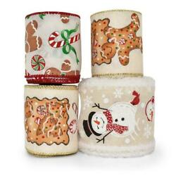 16 Yards Gingerbread Snowman Christmas Coordinating Wired Ribbon $13.00