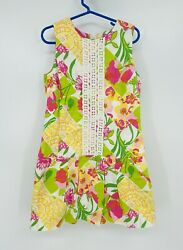 Lilly Pulitzer Kids Girls 7 Pink Green Yellow Floral Embroidered Shift Dress EUC $20.00