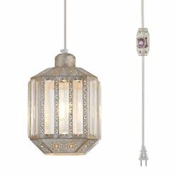 YLONG ZS Hanging Lamps Crystal White Swag Lamp Rustic Pendant Light Plug in 16.4 $56.54