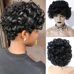 Short Curly Wave Human Hair Wigs Glueless Machine Made Wigs For Black Women Afro $12.56
