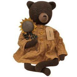 New Primitive Rustic Country BROWN TEDDY BEAR WITH SUNFLOWER Doll 18quot; $35.95