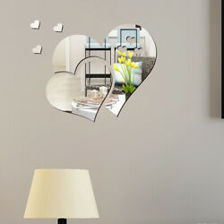 3D Mirror Love Hearts Wall Sticker Removable Decal Home DIY Room Mural Decor j $2.73