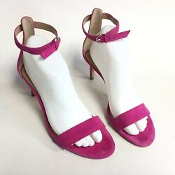ANN TAYLOR Suede Heel Sandal Size 8 M Magenta Suede Party Cocktail Women's $24.99