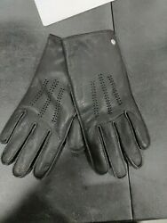 New Ugg Mens Faux Fur Lined Wrangell Smart Glove Leather Touchscreen Sz L Black $27.99