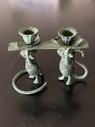 Vintage Mice Candlestick Brass With Patina. Very Cute and Whimsical $35.00