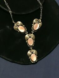 NAVAJO PINK MOTHER OF PEARL MULTI PENDANT SQUASH STERLING V SHAPED SIGNED SN $94.99