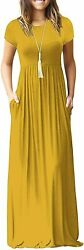 DEARCASE Women Short Sleeve Loose Plain Maxi Dresses Casual Long Dresses with Po $61.33