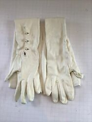 Vintage silk Lined White Soft Leather opera Gloves W Pearls 6 Made in Italy $22.00