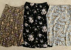 Lot Of 3 Long Maxi Dress Professional Skirts Size XL Brown Blue Black Floral $19.99