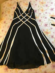 Stunning Silk Adrianna Papell Cocktail Black amp; White Womens Dress Size 8 $54.00