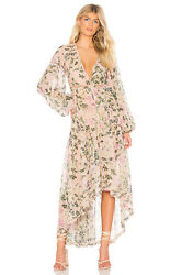 New ROCOCO SAND Women#x27;s Size Small Black Floral Chiffon Long Sleeve Maxi Dress $99.99
