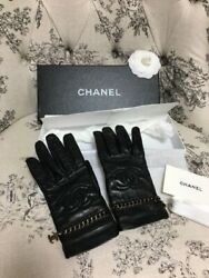 Very Rare CHANEL Gloves Logo Charm in Lambskin Black Size 7 Nearly Unused $834.00