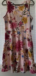 OLD NAVY GIRLS DRESS 8 FLORAL SLEEVE LESS PINK 100% COTTON $9.90
