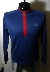 Men#x27;s PEARL IZUMI Blue Long Sleeve 1 2 Zip Cycling Jersey Size L $20.00