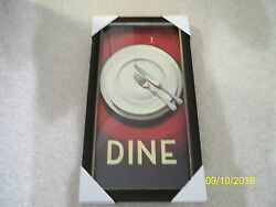 BRAND NEW HOMEWARES KITCHEN ART PICTURE WITH FRAME quot;DINEquot; $47.00