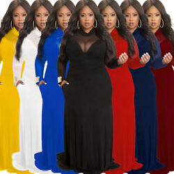Womens Plus Size Ball Gown Evening Cocktail Dress Long Sleeve Maxi Skirt Bodycon $26.99