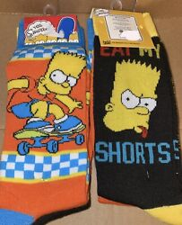 The Simpsons Bart Simpson 2 PACK Mens Novelty Crew Socks Size 6 12 new $12.95
