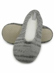 Womens 6 D M US Cable Knit Plush Slippers House Shoes Soft Warm Indoor Slides $8.85