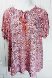 Isaac Mizrahi Live Pullover Top Size 2X Orange Pink Floral Short Sleeves NEW $18.99