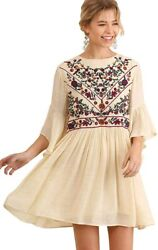 Umgee Women#x27;s Floral Embroidered Keyhole Bell Sleeve Mini Dress Bohemian $89.97
