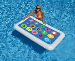 Swim Central 68IN Multi Color Smart Phone Inflatable Novelty Swimming Pool Float $29.69