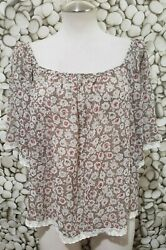 Forever 21 Floral Boho Sheer Lace Trim Short Sleeve Brown Pink Top Small Petite $9.95