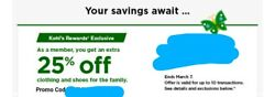 Kohl's 25% Off Clothing amp; Shoes Coupon Use 10X Exp. 3 7 21 $1.55