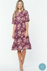 Maroon Floral Dress Spring Modest Missionary Midi LDS Small $19.00