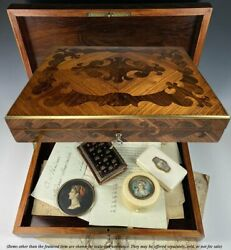 Superb Antique French Table Box 12quot; x 8quot; Kingwood Marquetry Lock and Key $746.25