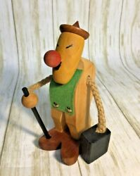 Vtg Wooden Danish Modern Teak Hiker Man Figurine Toothpick Candle Holder Denmark $39.99