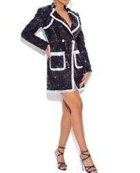 Miss Circle Black Sequin Blazer Mini Dress