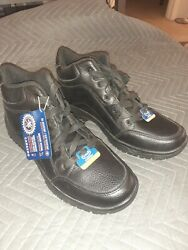 Dr. Scholls curtis Careers Mens 13 w Black Leather work boots Shoes Non Slip $29.99