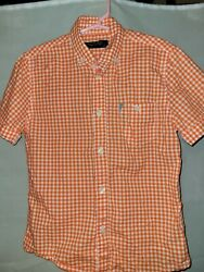 Mayoral Spain Designer Boys Button Shirt Size 6 Short Sleeves Orange Checked