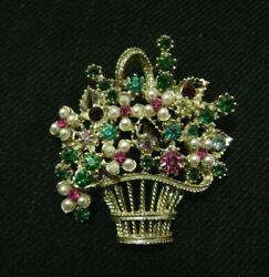 "Vintage Flower Basket Brooch Pin 2"" Goldtone w Multicolored Glass amp; Pearls $10.99"