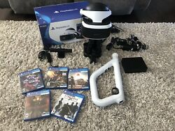 PlayStation VR Headset Bundle PSVR PS4 PS5 Move Aim Controllers 5 GamesStand $400.00