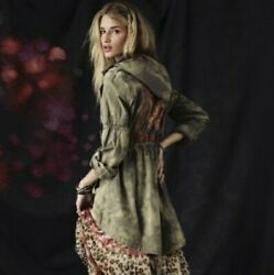 Free People Green Tie Dye Anorak Jacket Embroidered Boho Long Size 6 Utility EUC $65.99