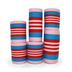 20 Yards Pink Blue Red Striped Coordinating Grosgrain Ribbon Lot $15.00