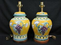 Pair of Frederick Cooper Porcelain Country French Hand Painted Lamps; Mint $395.00