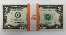 NEW Uncirculated Two Dollar Bills Series 2013 $2 Sequential Notes Lot of 25 $74.95
