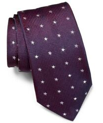 John Varvatos Star Grid 100% Silk made in Italy Tie Blue or Cranberry Red 3quot; $25.99