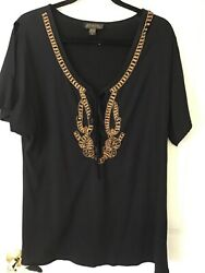 Athena Swimsuit Bathing Cover Up Black with Gold Beading Medium $15.00