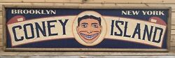 Antique Rustic Style Coney Island Brooklyn NY Wooden Sign 6x24 $59.00