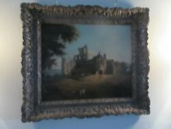 English Antique Oil on Canvas .Kirkstall Abbey Ruins with Pastoral Foreground $295.00