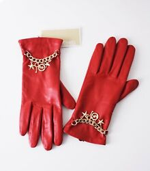 Michael Kors Gloves Leather Red Size XL $49.49