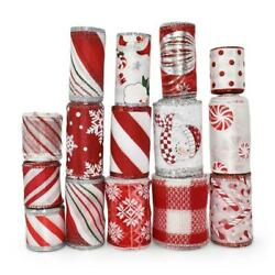 35 Yards Christmas Red White Peppermint Candy Cane Coordinating Wired Ribbon Lot $24.00