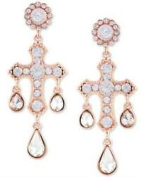 Guess Crystal Chandelier Earrings Rose Gold Minor Defect $10.80