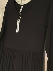 DEARCASE Women Long Sleeve Maxi Dress in Black with Pockets Size L Large NEW $15.00